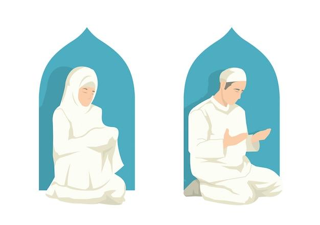 Мусульманин делает молитву на фестивале ramadan