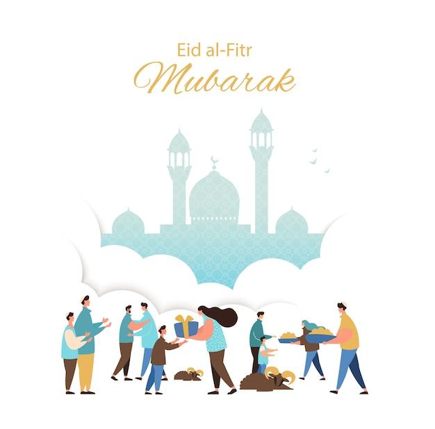 Muslim eid fitr celebrating greeting card. people feast of breaking the fast