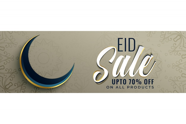 Muslim eid sale banner with moon