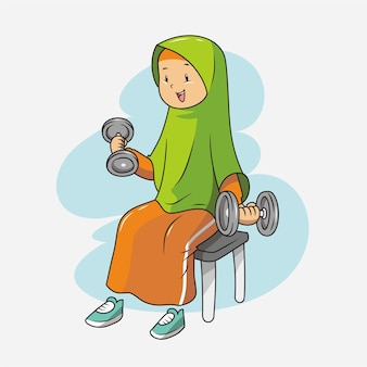A muslim exercising in gym