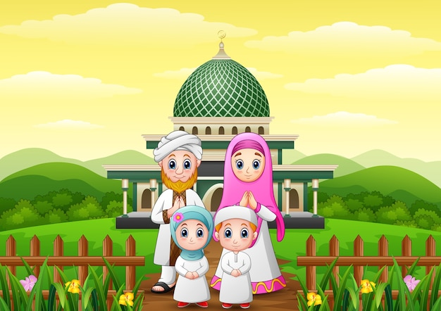 Muslim families cartoon with mosque in the forest