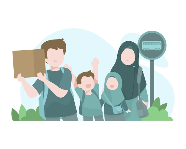 Muslim families go on vacation using bus