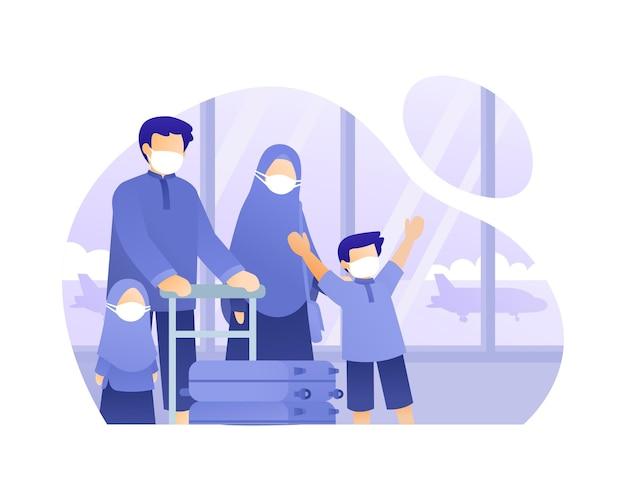 비행기 그림으로 여행하는 무슬림 가족