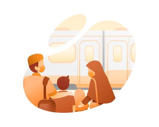 기차 그림으로 여행하는 이슬람 가족