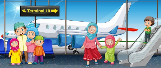 空港でイスラム教徒の家族 Premiumベクター