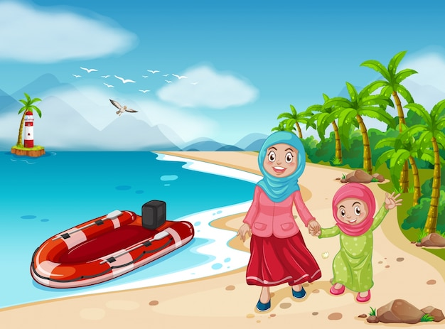 Muslim family on the beach