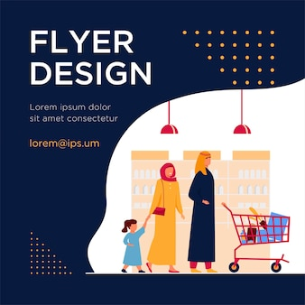 Muslim family buying food in supermarket. arab cartoon characters wheeling shopping cart in grocery store. flyer template