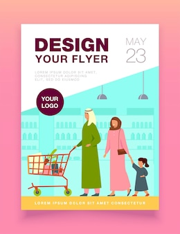 Muslim family buying food in supermarket flyer template
