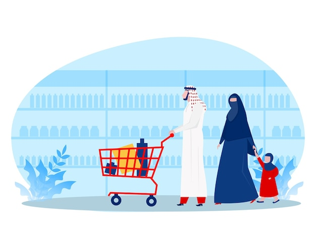 Muslim family buying shopping with wheeling shopping cart in grocery store. illustration