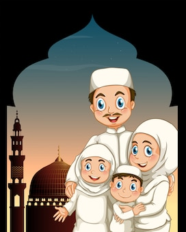 Muslim family by the mosque