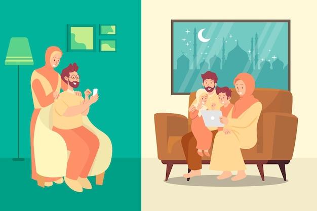 화상 통화로 할머니 부모와 채팅하는 이슬람 가족
