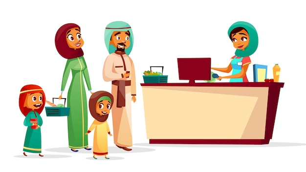 Muslim family at checkout counter of saudi arabian man and woman in khaliji