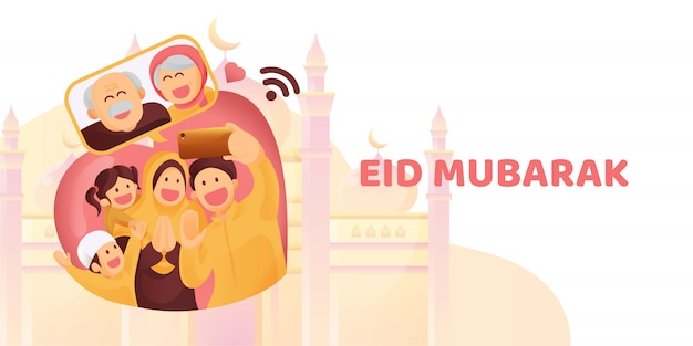 Premium Vector Muslim Family Contact Their Elder Or Parents In Smartphone Video Call To Show Their Love In Eid Mubarak Celebration