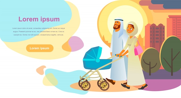 Muslim family day out cartoon vector web banner