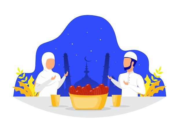 ラマダンカリームでのイスラム教徒の家族の夕食または断食後のごちそうパーティーのコンセプトを食べるイフタール