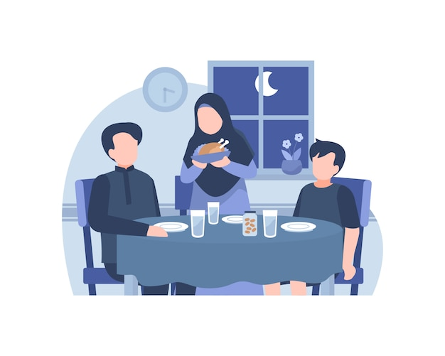 Muslim family eat together at dining room