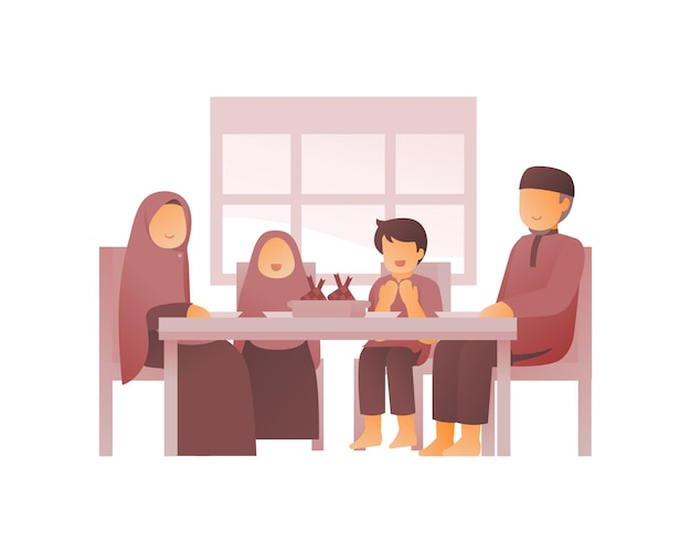 Muslim family eating together in the dining room
