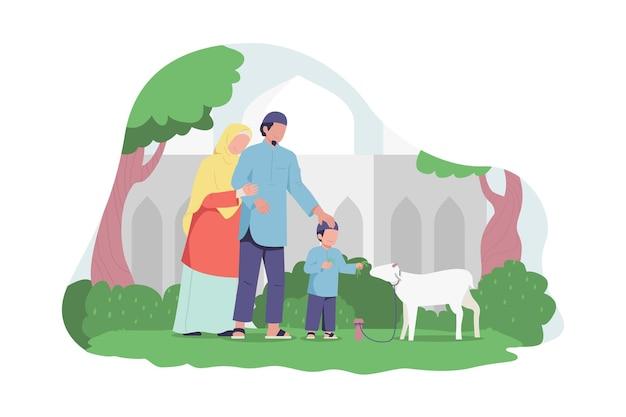 Muslim family feeding sacrifice goat in front of mosque building for eid al adha celebration Premium Vector