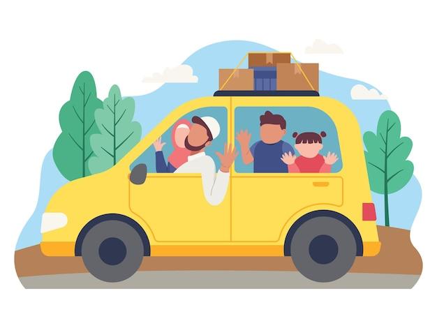 무슬림 가족은 자동차로 휴가를 떠납니다. 플랫 스타일의 일러스트레이션