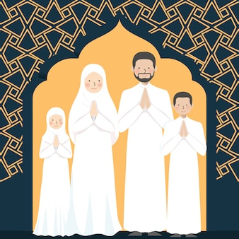 Muslim family greeting with arabic pattern