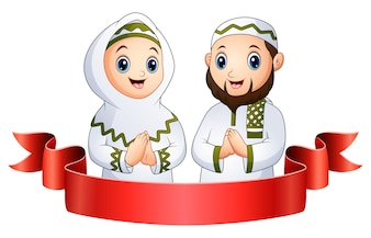 Muslim family greeting with red ribbon