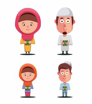 イスラム教徒の家族はコーランセットを保持します。