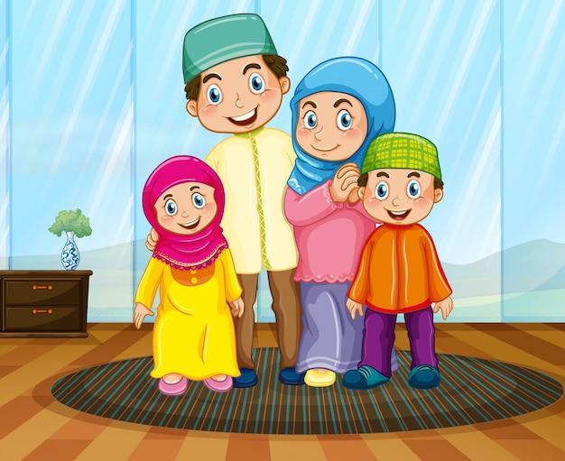 リビングルームでイスラム教徒の家族