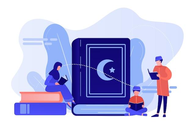Мусульманская семья в традиционной одежде, читая священную книгу коран, крошечные люди. пять столпов ислама, исламский календарь, концепция исламской культуры. розовый коралловый синий вектор изолированных иллюстрация