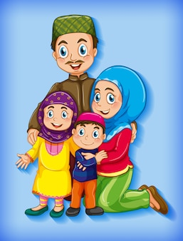 Muslim family member on cartoon character colour gradient background