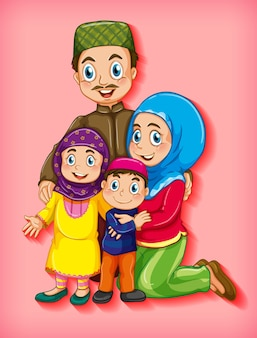 Muslim family member on cartoon character