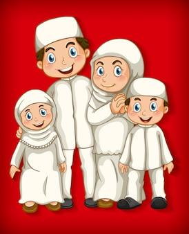 Мусульманский член семьи на фоне мультипликационного цвета