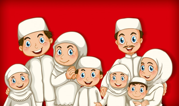 Член мусульманской семьи на цветном градиентном фоне мультяшного персонажа
