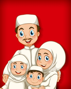 만화 캐릭터 색상 그라데이션 배경에 이슬람 가족