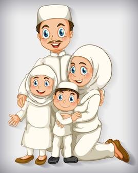 漫画のキャラクターの色のグラデーションのイスラム教徒の家族