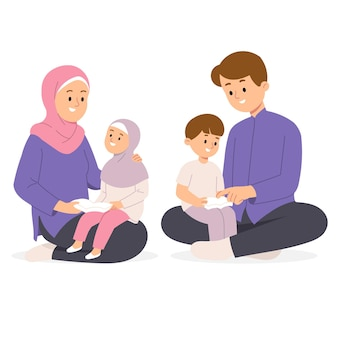 Muslim family of mother and father wear hijab teaching children reading holy book quran storytelling in house illustration