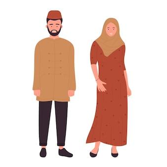 이슬람 가족 또는 부부 사람들이 아라비아 젊은 남편과 아내가 함께 서