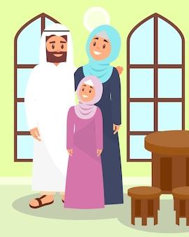 アラビア風のイラストの伝統的な家でポーズをとるイスラム教徒の家族