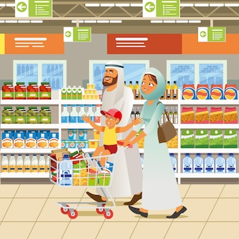 Muslim family shopping cartoon vector concept