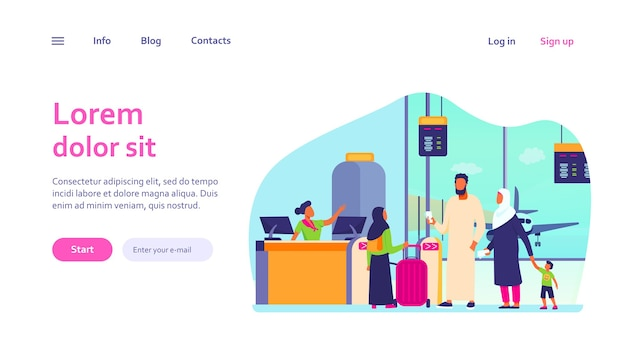 Muslim family standing at check in desk in airport. couple with children waiting boarding. international tourism concept for website design or landing web page