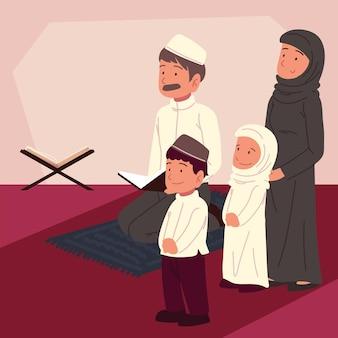 コーランと一緒に祈るイスラム教徒の家族