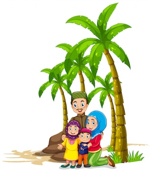 Muslim family under the tree