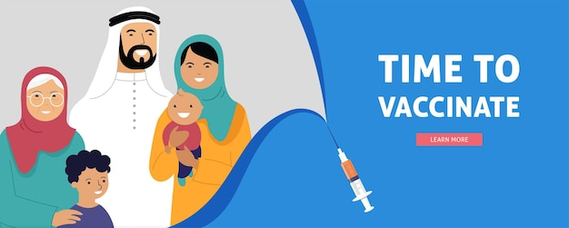 Muslim family vaccination banner for time to vaccinate
