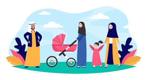 公園を歩いてイスラム教徒の家族