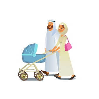 Muslim family walking with baby carriage vector