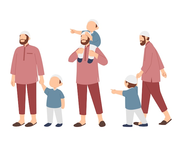 Muslim family with father and boy character set