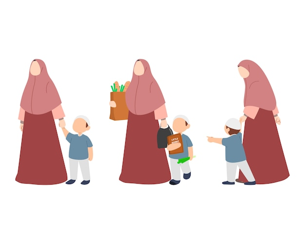 Muslim family with mother and boy character set