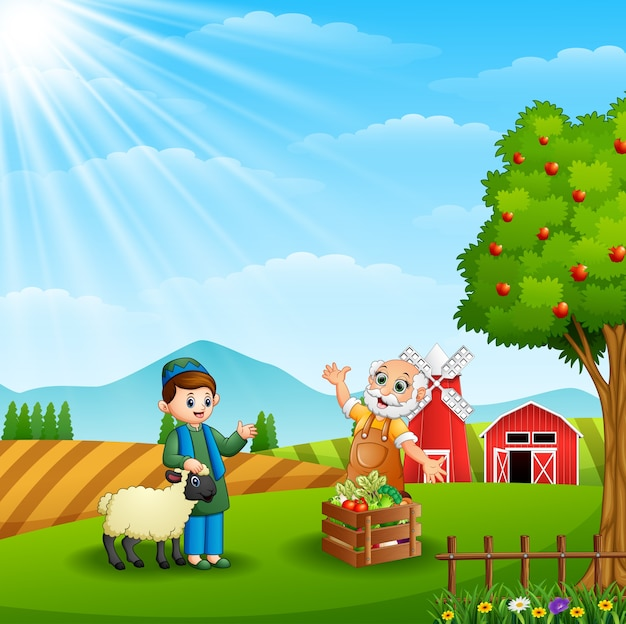 The muslim farmers are meet up at farm