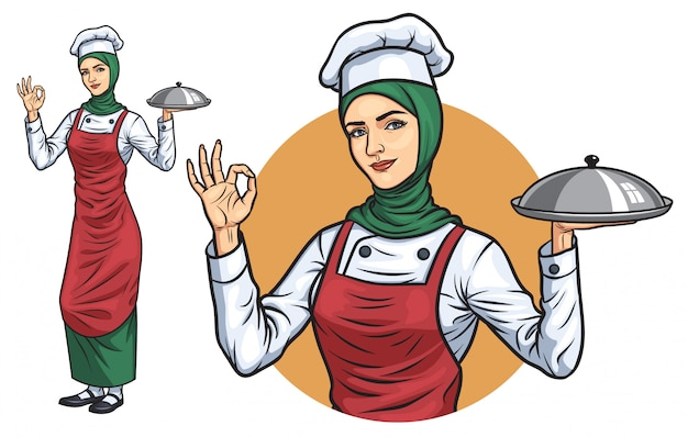 히잡과 무슬림 여성 요리사