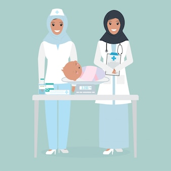 Muslim female doctor and weight scale