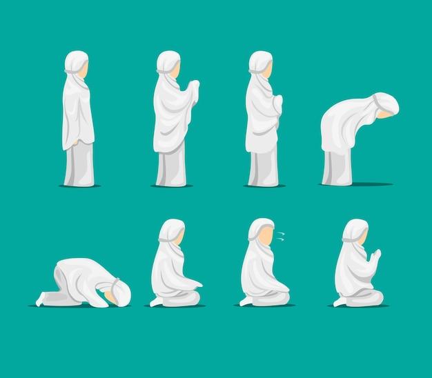 イスラム教徒の女性の祈りの位置ステップ指示記号アイコンセット。漫画イラストの概念